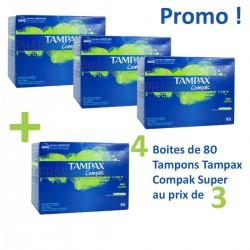 Compak - Pack économique de 320 Tampons Tampax - 4 au prix de 3 taille super avec applicateur