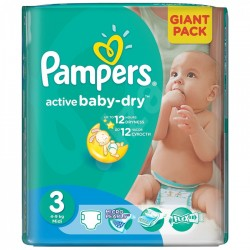 Pack 68 Couches Pampers Active Baby Dry taille 3 sur Couches Zone