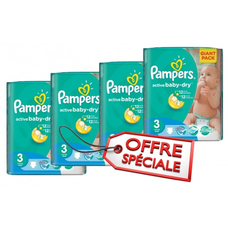 Giga pack 204 Couches Pampers Active Baby Dry taille 3 sur Couches Zone