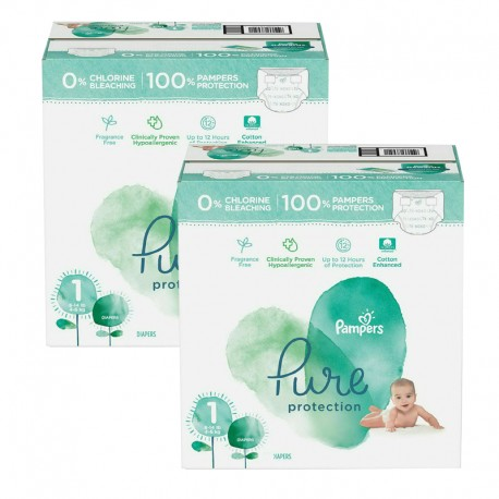 Mega pack 105 Couches Pampers Pure Protection taille 1 sur Couches Zone