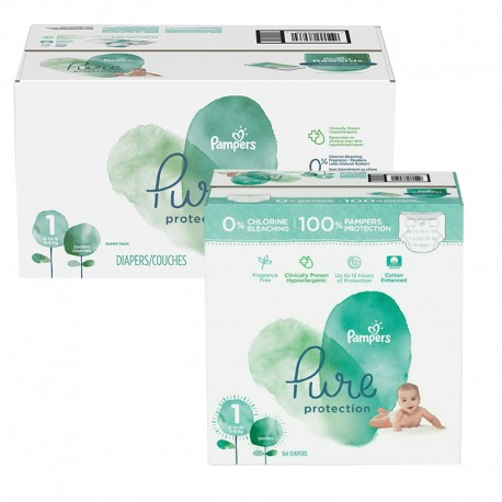 Giga pack 245 Couches Pampers Pure Protection taille 1 sur Couches Zone