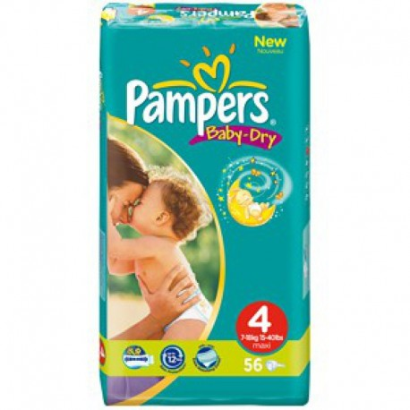 Pack 23 Couches Pampers Baby Dry taille 4 sur Couches Zone
