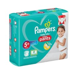 Pack 72 Couches Pampers Baby Dry Pants taille 5+ sur Couches Zone