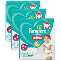 Pack 96 Couches Pampers Baby Dry Pants taille 5+ sur Couches Zone