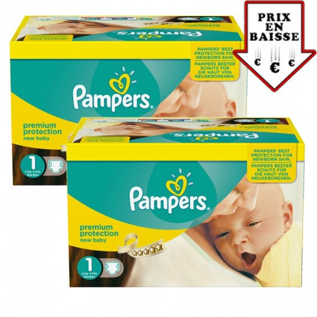 Mega pack 168 Couches Pampers New Baby Premium Protection taille 1 sur Couches Zone