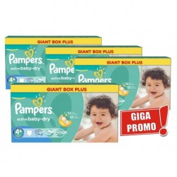 Mega pack 120 Couches Pampers Active Baby Dry taille 4+ sur Couches Zone