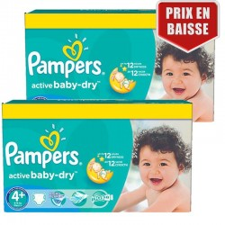 Mega pack 160 Couches Pampers Active Baby Dry taille 4+ sur Couches Zone