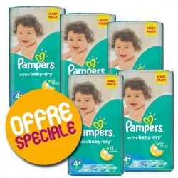 Giga pack 200 Couches Pampers Active Baby Dry taille 4+ sur Couches Zone