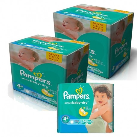 Maxi giga pack 360 Couches Pampers Active Baby Dry taille 4+ sur Couches Zone