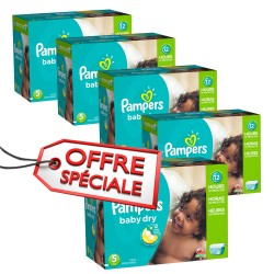 Pack 92 Couches Pampers Baby Dry taille 5 sur Couches Zone