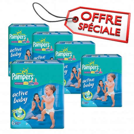 Pack 96 Couches Pampers Active Baby Dry taille 6 sur Couches Zone