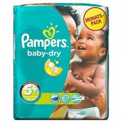 Pack 68 Couches Pampers Baby Dry taille 5+ sur Couches Zone