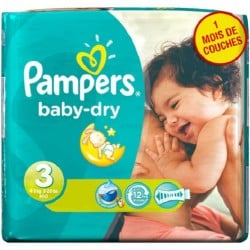 Pack 38 Couches Pampers Baby Dry sur Couches Zone