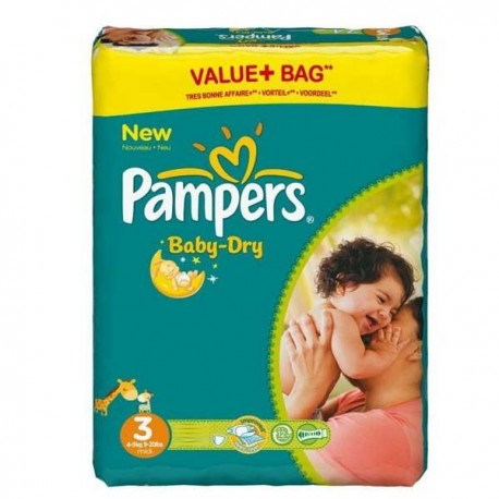 Pack 90 Couches Pampers Baby Dry taille 3 sur Couches Zone