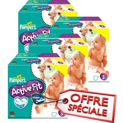Maxi mega pack 408 Couches Pampers Active Fit taille 3 sur Couches Zone