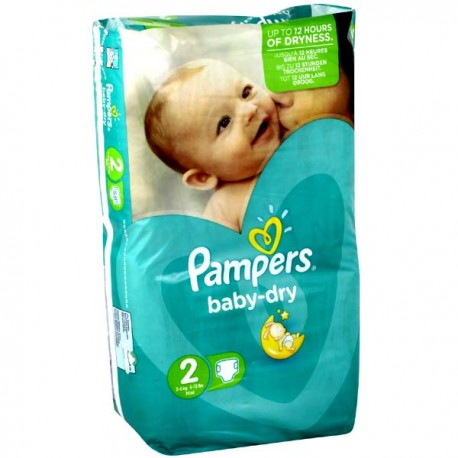 Pack 33 Couches Pampers Baby Dry taille 2 sur Couches Zone
