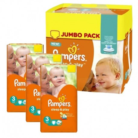 Maxi giga pack 312 Couches Pampers Sleep & Play taille 3 sur Couches Zone