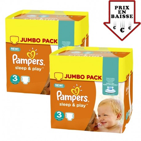 Pack jumeaux 546 Couches Pampers Sleep & Play taille 3 sur Couches Zone